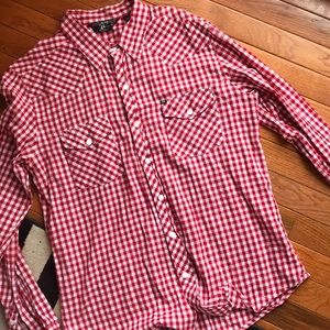 Salt Valley Shirts - Red and white check pearl snap button down